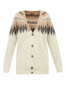 Altuzarra - Sita Fair-isle Wool-blend Cable-knit Cardigan - Womens - Ivory Multi