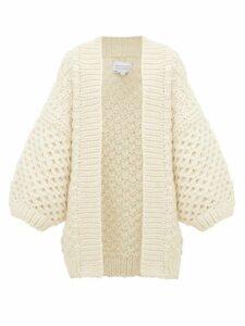 I Love Mr Mittens - Oversized Honeycomb-knit Wool Cardigan - Womens - Cream