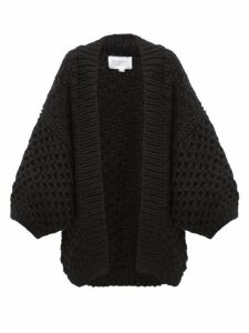 I Love Mr Mittens - Oversized Honeycomb-knit Wool Cardigan - Womens - Black