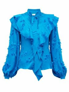 Peter Pilotto - Ruffled Fil Coupé Satin Jacquard Blouse - Womens - Blue