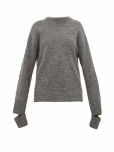 Tibi - Slit-cuff Alpaca-blend Sweater - Womens - Grey