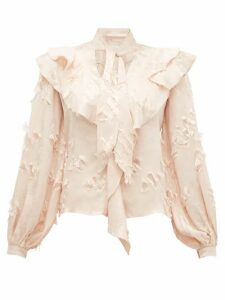 Peter Pilotto - Ruffled Fil-coupé Satin-jacquard Blouse - Womens - Cream