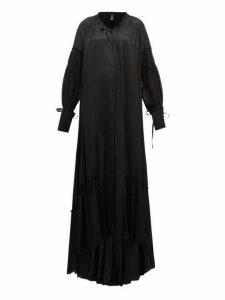 Ann Demeulemeester - Nanette Balloon-sleeve Satin Dress - Womens - Black