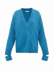Tibi - Slit-cuff Alpaca-blend Sweater - Womens - Blue