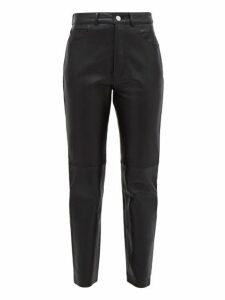 Re/done Originals - Cropped Leather Cigarette Trousers - Womens - Black