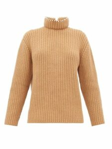 Loewe - Faux Pearl-embellished High-neck Cashmere Sweater - Womens - Beige