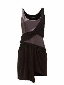 Atlein - Draped Coated Jersey Mini Dress - Womens - Black Navy