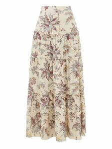 Sir - Avery Floral-print Tiered Silk Maxi Skirt - Womens - Multi