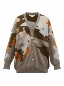 Queene And Belle - Star Cammo Cashmere Cardigan - Womens - Grey Multi