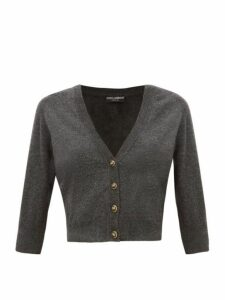 Dolce & Gabbana - Dg-button Cropped Cashmere Cardigan - Womens - Dark Grey