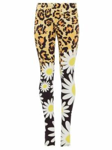 0 Moncler Genius Richard Quinn - Leopard And Floral Print Jersey Leggings - Womens - Leopard
