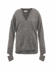 Tibi - Airy V-neck Alpaca-blend Sweater - Womens - Grey