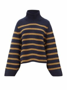 Khaite - Molly Roll Neck Striped Cashmere Sweater - Womens - Navy Multi