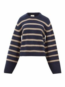 Khaite - Annalise Striped-jacquard Cashmere Sweater - Womens - Navy