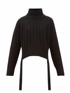 Proenza Schouler - Waist-tie Ribbed Wool-blend Sweater - Womens - Black