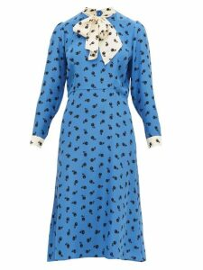 HVN - Elisa Cherry-print Silk-satin Midi Dress - Womens - Blue