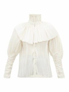 Rodarte - Caped High Neck Plissé Voile Blouse - Womens - White