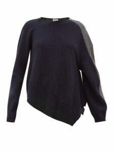 Loewe - Asymmetric Wool Blend Sweater - Womens - Navy Multi
