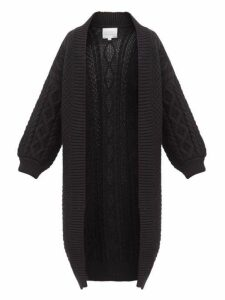 I Love Mr Mittens - Long-line Open-front Cabled-wool Cardigan - Womens - Black