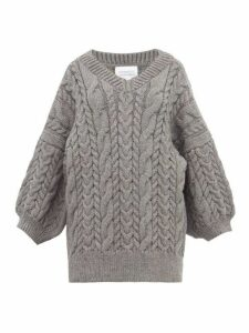 Mr Mittens - Cable-knit Wool Sweater - Womens - Dark Grey