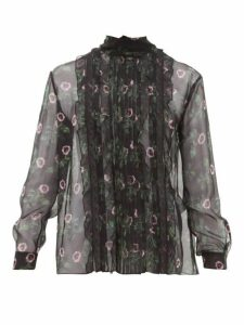 Valentino - Lip Floral-print Pleated Silk-chiffon Blouse - Womens - Black Multi