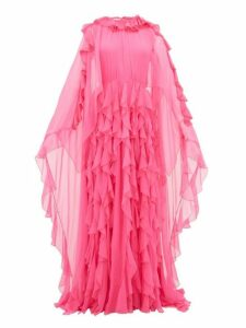 Valentino - Ruffle-collar Cape-sleeve Silk-chiffon Gown - Womens - Pink