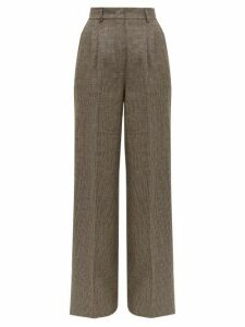 Fendi - High-rise Wide-leg Houndstooth Wool Trousers - Womens - Grey Multi