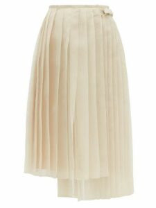 Fendi - Buckled Asymmetric Pleated Silk-organza Skirt - Womens - Beige