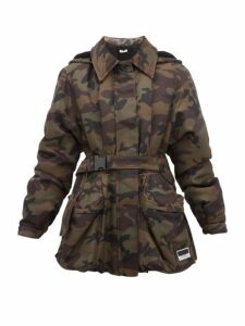 Miu Miu - Panama Camouflage Shearling-lined Padded Jacket - Womens - Green Multi