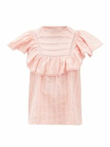 Isabel Marant Étoile - Pleyel Ruffled Striped Cotton Blouse - Womens - Pink
