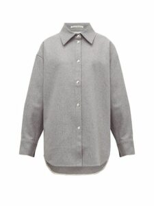 Acne Studios - Sharwin Wool Blend Flannel Overshirt - Womens - Grey