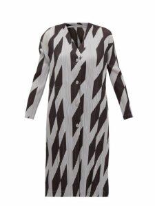 Pleats Please Issey Miyake - Rhombus Print Plissé Cardigan - Womens - Black Grey