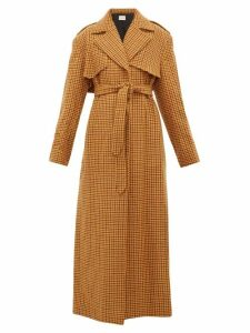 Khaite - Blythe Checked Wool Trench Coat - Womens - Brown Multi