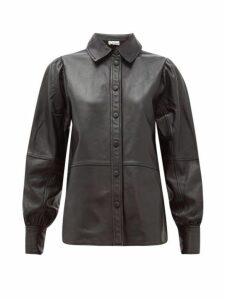 Ganni - Balloon-sleeve Leather Shirt - Womens - Black