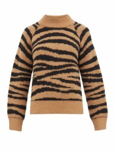 A.p.c. - Jemima Tiger-jacquard Alpaca-blend Sweater - Womens - Brown Multi