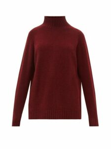The Elder Statesman - Highland High Neck Cashmere Sweater - Womens - Burgundy