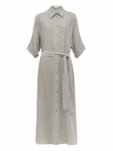 Raey - Dolman-sleeve Belted Floral-print Silk Shirtdress - Womens - Grey Print