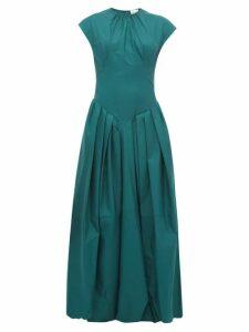 Khaite - Rita Puffed-skirt Cotton-twill Maxi Dress - Womens - Green