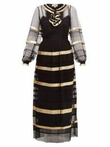 Temperley London - Phantom Pleated Swiss-dot Maxi Dress - Womens - Black Gold