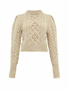 Isabel Marant - Milford Cable Knit Merino Wool Sweater - Womens - Beige