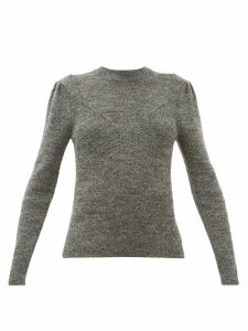 Isabel Marant - Hynn Gathered Sleeve Wool Blend Sweater - Womens - Dark Grey