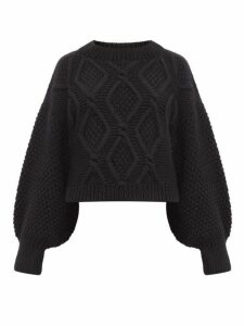 Mr Mittens - Balloon-sleeve Cropped-hem Cabled-wool Sweater - Womens - Black