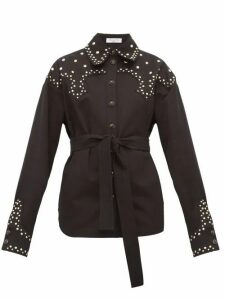 Françoise - Studded Cotton Twill Belted Overshirt - Womens - Black