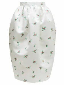 Rochas - Floral-print Duchess-satin Skirt - Womens - Natural 9501