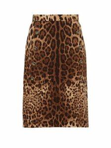 Dolce & Gabbana - Leopard-print Wool-crepe Midi Skirt - Womens - Leopard
