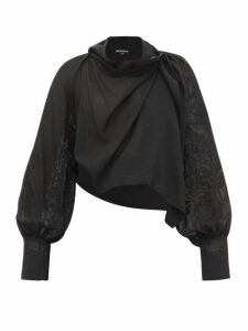 Ann Demeulemeester - Wool Blend Embroidered Top - Womens - Black