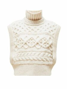 Isabel Marant - Minea Tiered Funnel Neck Cabled Merino Sweater - Womens - Ivory