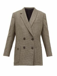 Fendi - Double-breasted Bow-back Houndstooth Wool Jacket - Womens - Grey Multi
