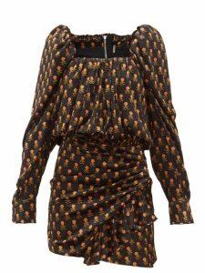Dodo Bar Or - Michel Floral-print Velvet Mini Dress - Womens - Black Multi