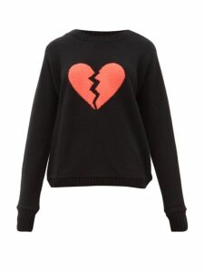 The Elder Statesman - Broken Heart-intarsia Cashmere Sweater - Womens - Black Multi